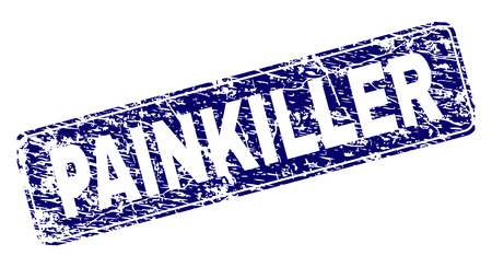 PAINKILLER stamp seal print with distress texture. Seal shape is a rounded rectangle with frame. Blue vector rubber print of PAINKILLER title with corroded texture.