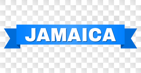 JAMAICA text on a ribbon. Designed with white caption and blue tape. Vector banner with JAMAICA tag on a transparent background.