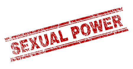 SEXUAL POWER seal print with grunge texture. Red vector rubber print of SEXUAL POWER text with scratched texture. Text tag is placed between double parallel lines. Ilustrace