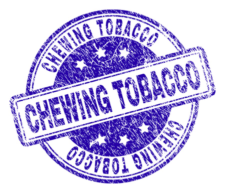 CHEWING TOBACCO stamp seal imprint with distress texture. Designed with rounded rectangles and circles. Blue vector rubber print of CHEWING TOBACCO text with scratched texture. Çizim