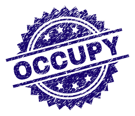OCCUPY stamp seal watermark with distress style. Blue vector rubber print of OCCUPY tag with dust texture.