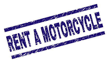 RENT A MOTORCYCLE seal print with scratced style. Blue vector rubber print of RENT A MOTORCYCLE text with retro texture. Text caption is placed between parallel lines.