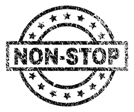NON-STOP stamp seal watermark with distress style. Designed with rectangle, circles and stars. Black vector rubber print of NON-STOP label with dirty texture.