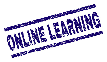ONLINE LEARNING seal print with grunge style. Blue vector rubber print of ONLINE LEARNING caption with corroded texture. Text label is placed between parallel lines.
