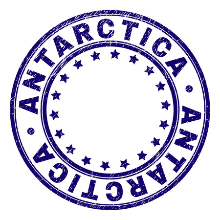 ANTARCTICA stamp seal imprint with grunge texture. Designed with round shapes and stars. Blue vector rubber print of ANTARCTICA label with unclean texture.