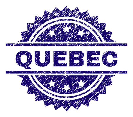 QUEBEC stamp seal watermark with distress style. Blue vector rubber print of QUEBEC caption with unclean texture.