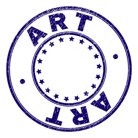 ART stamp seal watermark with grunge texture. Designed with round shapes and stars. Blue vector rubber print of ART label with retro texture.