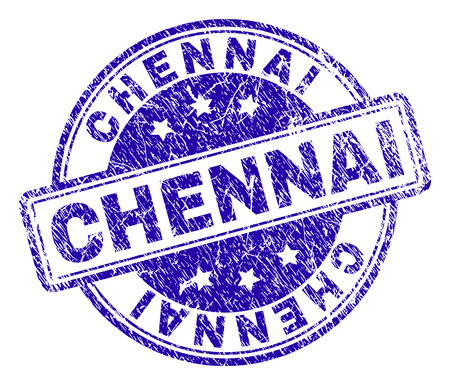 CHENNAI stamp seal watermark with grunge texture. Designed with rounded rectangles and circles. Blue vector rubber print of CHENNAI tag with grunge texture.