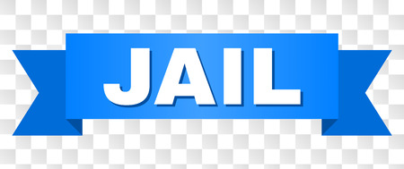 JAIL text on a ribbon. Designed with white caption and blue tape. Vector banner with JAIL tag on a transparent background. Illustration