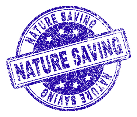 NATURE SAVING stamp seal watermark with grunge texture. Designed with rounded rectangles and circles. Blue vector rubber print of NATURE SAVING text with scratched texture.