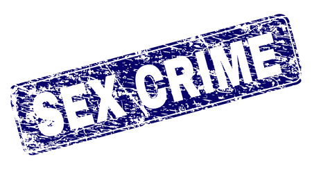 SEX CRIME stamp seal imprint with grunge style. Seal shape is a rounded rectangle with frame. Blue vector rubber print of SEX CRIME caption with grunge style.