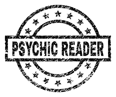PSYCHIC READER stamp seal watermark with distress style. Designed with rectangle, circles and stars. Black vector rubber print of PSYCHIC READER tag with dirty texture.