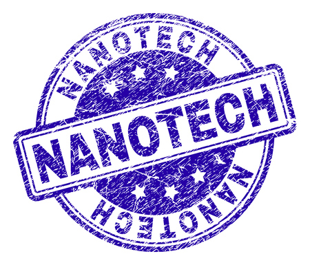 NANOTECH stamp seal imprint with distress texture. Designed with rounded rectangles and circles. Blue vector rubber print of NANOTECH title with dirty texture.