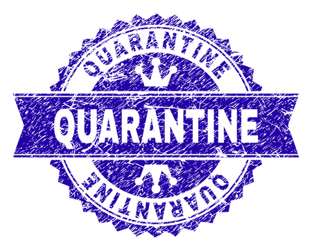 QUARANTINE rosette stamp seal watermark with grunge style. Designed with round rosette, ribbon and small crowns. Blue vector rubber watermark of QUARANTINE title with scratched style.