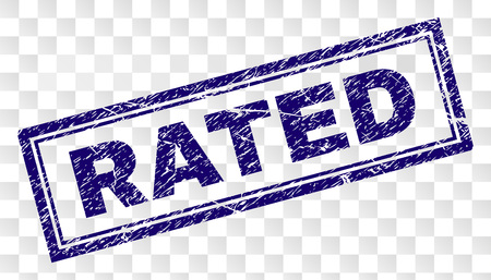 RATED stamp seal imprint with scratched style and double framed rectangle shape. Stamp is placed on a transparent background. Blue vector rubber print of RATED caption with scratched texture.