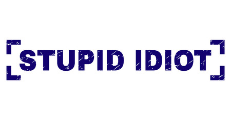 STUPID IDIOT text seal print with grunge texture. Text title is placed inside corners. Blue vector rubber print of STUPID IDIOT with grunge texture.