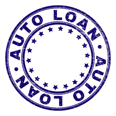 AUTO LOAN stamp seal watermark with distress texture. Designed with round shapes and stars. Blue vector rubber print of AUTO LOAN label with unclean texture.