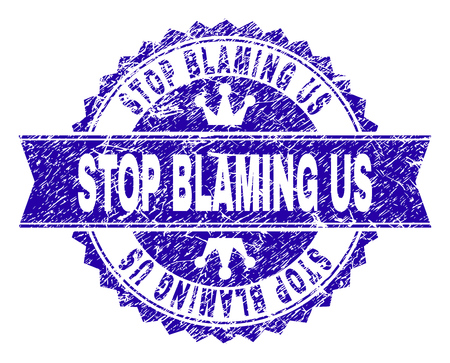 STOP BLAMING US rosette seal imprint with distress texture. Designed with round rosette, ribbon and small crowns. Blue vector rubber watermark of STOP BLAMING US caption with grunge texture.