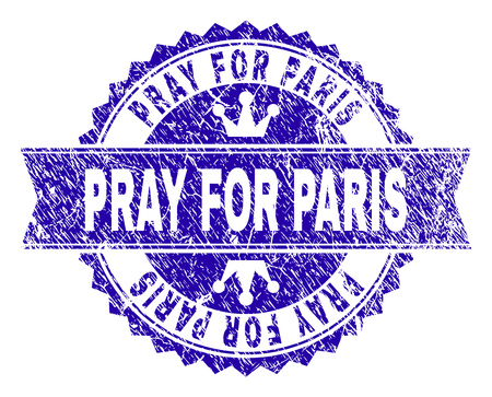 PRAY FOR PARIS rosette seal watermark with grunge texture. Designed with round rosette, ribbon and small crowns. Blue vector rubber print of PRAY FOR PARIS title with grunge texture.