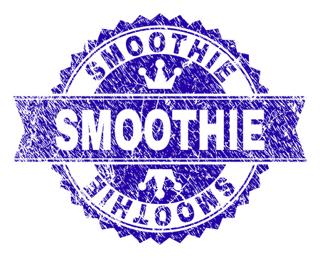 SMOOTHIE rosette seal imitation with grunge texture. Designed with round rosette, ribbon and small crowns. Blue vector rubber watermark of SMOOTHIE caption with unclean texture.