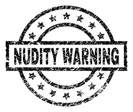 NUDITY WARNING stamp seal watermark with distress style. Designed with rectangle, circles and stars. Black vector rubber print of NUDITY WARNING label with unclean texture.