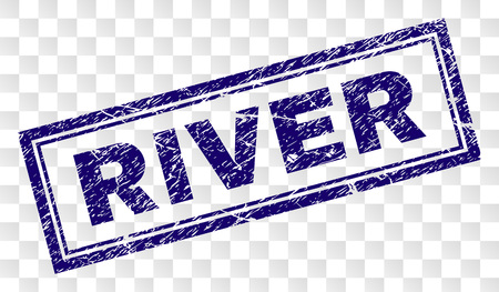 RIVER stamp seal print with dirty style and double framed rectangle shape. Stamp is placed on a transparent background. Blue vector rubber print of RIVER title with dirty texture.