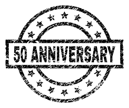 50 ANNIVERSARY stamp seal watermark with distress style. Designed with rectangle, circles and stars. Black vector rubber print of 50 ANNIVERSARY title with retro texture.