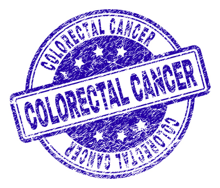 COLORECTAL CANCER stamp seal imprint with distress texture. Designed with rounded rectangles and circles. Blue vector rubber print of COLORECTAL CANCER label with dirty texture.
