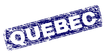 QUEBEC stamp seal watermark with grunge style. Seal shape is a rounded rectangle with frame. Blue vector rubber print of QUEBEC label with grunge style.