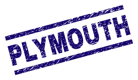 PLYMOUTH seal stamp with grunge style. Blue vector rubber print of PLYMOUTH text with unclean texture. Text tag is placed between parallel lines.