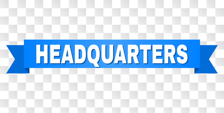 HEADQUARTERS text on a ribbon. Designed with white title and blue stripe. Vector banner with HEADQUARTERS tag on a transparent background.