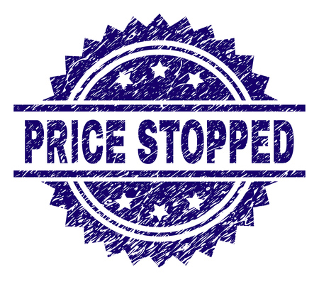 PRICE STOPPED stamp seal watermark with distress style. Blue vector rubber print of PRICE STOPPED label with scratched texture.
