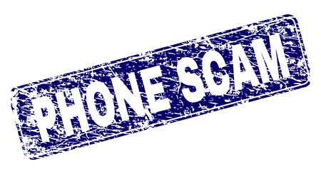 PHONE SCAM stamp seal print with grunge texture. Seal shape is a rounded rectangle with frame. Blue vector rubber print of PHONE SCAM title with dust texture.