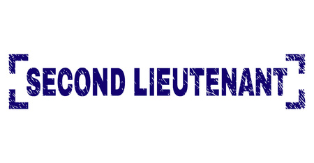 SECOND LIEUTENANT caption seal print with distress style. Text caption is placed between corners. Blue vector rubber print of SECOND LIEUTENANT with dust texture.