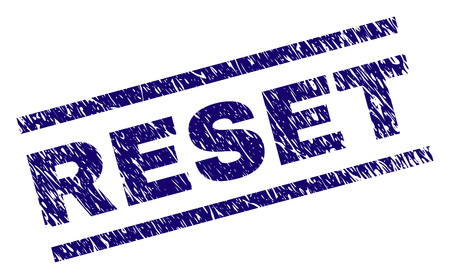 RESET seal watermark with scratced style. Blue vector rubber print of RESET title with grunge texture. Text title is placed between parallel lines.
