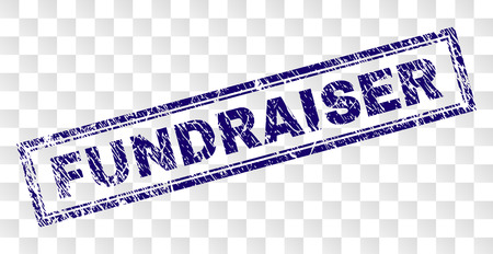 FUNDRAISER stamp seal imprint with rubber print style and double framed rectangle shape. Stamp is placed on a transparent background.