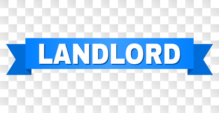 LANDLORD text on a ribbon. Designed with white title and blue stripe. Vector banner with LANDLORD tag on a transparent background.