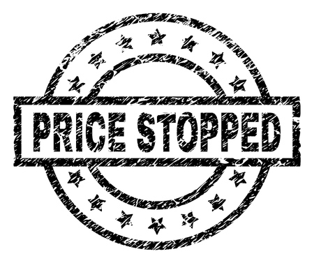 PRICE STOPPED stamp seal watermark with distress style. Designed with rectangle, circles and stars. Black vector rubber print of PRICE STOPPED title with dust texture. Vectores