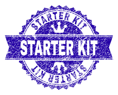 STARTER KIT rosette stamp watermark with grunge texture. Designed with round rosette, ribbon and small crowns. Blue vector rubber watermark of STARTER KIT title with dirty texture.
