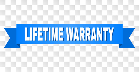 LIFETIME WARRANTY text on a ribbon. Designed with white title and blue tape. Vector banner with LIFETIME WARRANTY tag on a transparent background. Stock Vector - 125340778