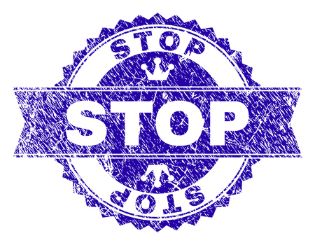 STOP rosette stamp overlay with distress texture. Designed with round rosette, ribbon and small crowns. Blue vector rubber print of STOP text with unclean texture.