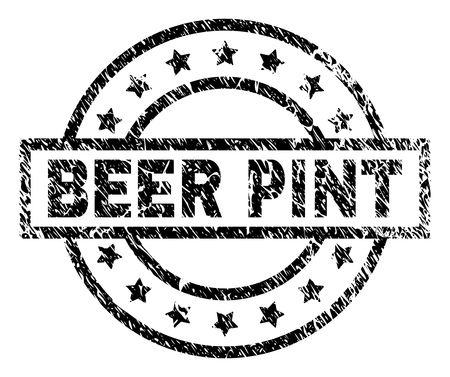 BEER PINT stamp seal watermark with distress style. Designed with rectangle, circles and stars. Black vector rubber print of BEER PINT title with dirty texture.