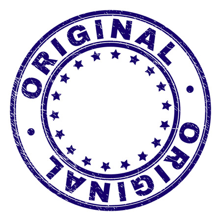 ORIGINAL stamp seal watermark with grunge texture. Designed with circles and stars. Blue vector rubber print of ORIGINAL label with corroded texture.