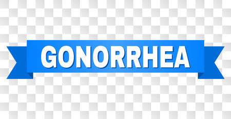 GONORRHEA text on a ribbon. Designed with white title and blue stripe. Vector banner with GONORRHEA tag on a transparent background. Illustration