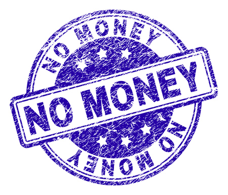 NO MONEY stamp seal imprint with distress texture. Designed with rounded rectangles and circles. Blue vector rubber print of NO MONEY title with retro texture. Imagens - 116554243