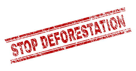 STOP DEFORESTATION seal imprint with distress style. Red vector rubber print of STOP DEFORESTATION label with dust texture. Text label is placed between double parallel lines. Ilustração