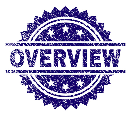 OVERVIEW stamp seal watermark with distress style. Blue vector rubber print of OVERVIEW label with grunge texture.