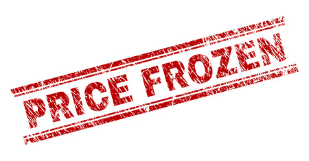 PRICE FROZEN seal print with corroded texture. Red vector rubber print of PRICE FROZEN title with corroded texture. Text title is placed between double parallel lines.