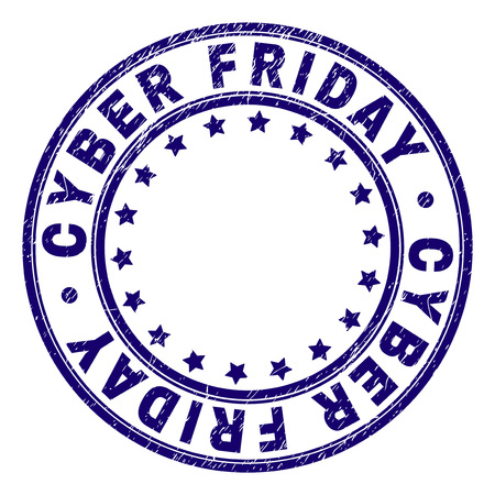 CYBER FRIDAY stamp seal watermark with grunge texture. Designed with round shapes and stars. Blue vector rubber print of CYBER FRIDAY title with retro texture. Banque d'images - 125340864