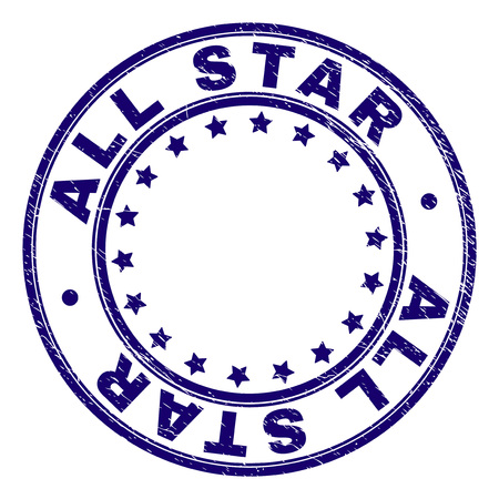 ALL STAR stamp seal imprint with grunge texture. Designed with circles and stars. Blue vector rubber print of ALL STAR label with grunge texture.